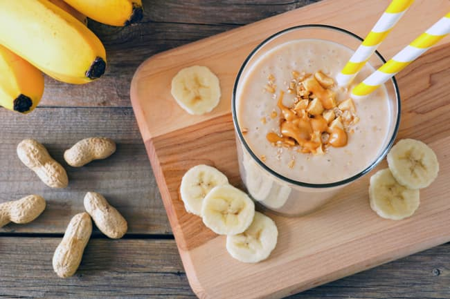 photo of peanut butter banana smoothie
