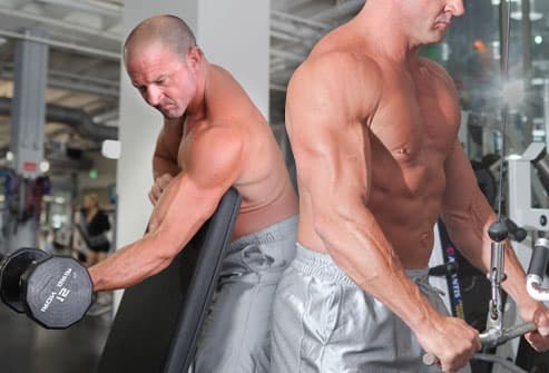 Super set of bicep and tricep exercises