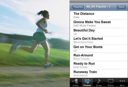 girl running and playlist graphic
