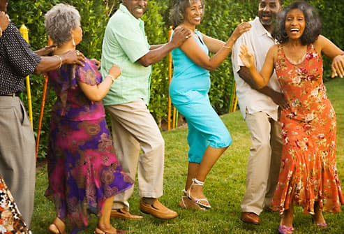 Mature adults dancing pain free
