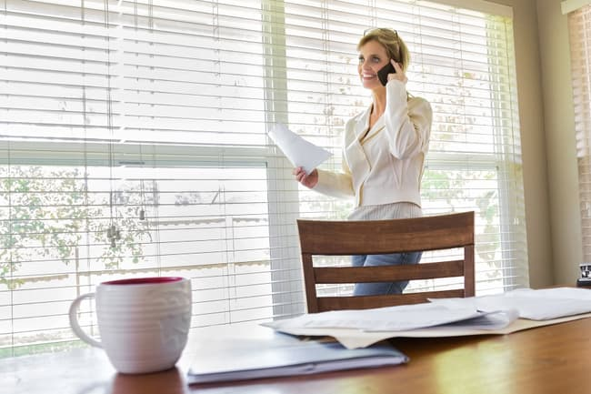 photo of woman in home office