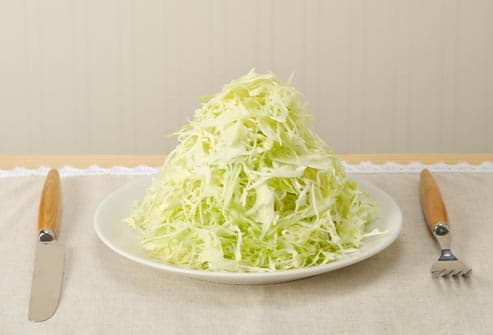 heaping plate of shredded cabbage