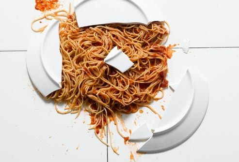 broken plate of spaghetti