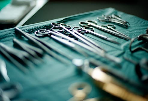 Surgical instruments on tray