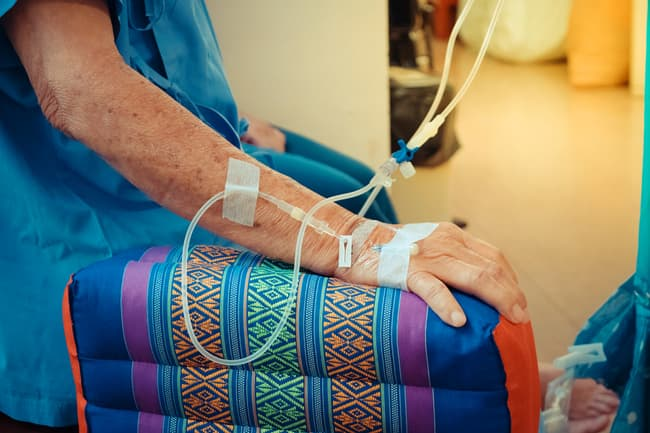 photo of person getting chemotherapy