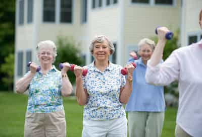 Older Women Lifting Weights