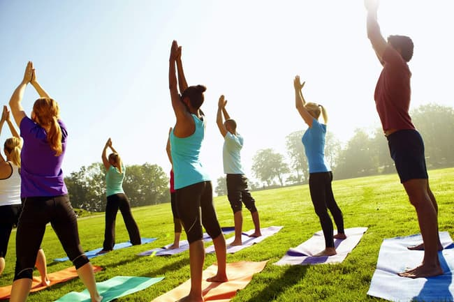 photo of group yoga class