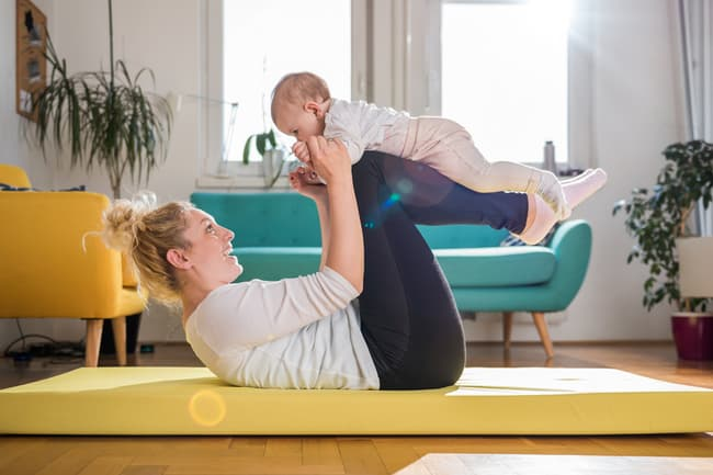 photo of mom and baby yoga
