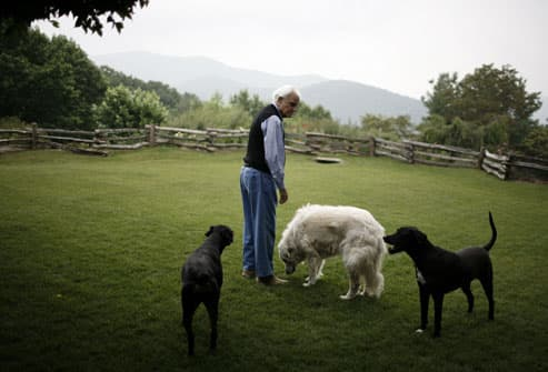 Billy Graham at home with his pets