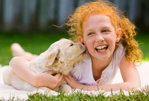 Girl Holding Golden Retriever Puppy