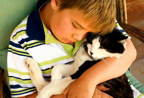 Young boy affectionately hugging his catpets