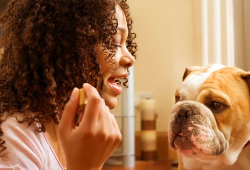 African American woman training dog with a treat