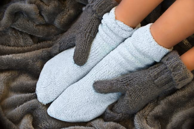 photo of fuzzy socks and gloves