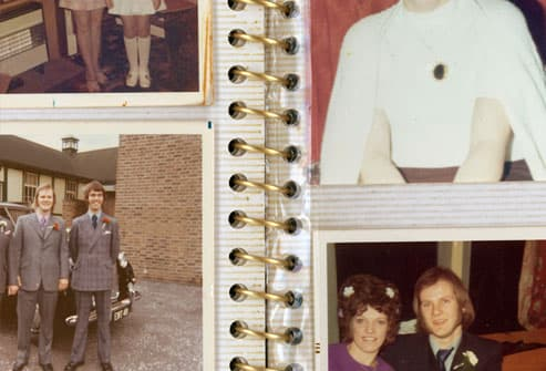 1970s photographs in album, close-up