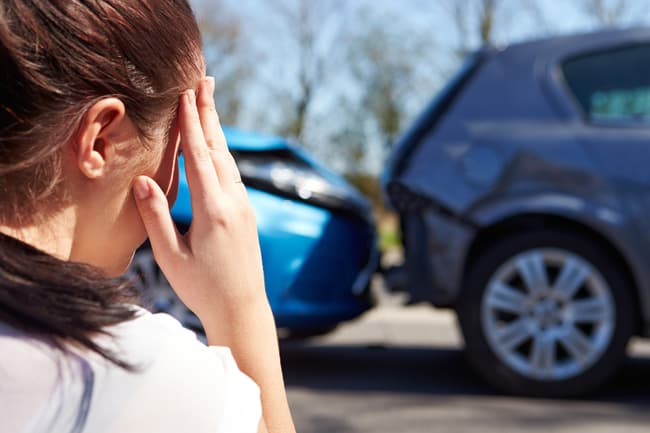 anxious woman after car accident