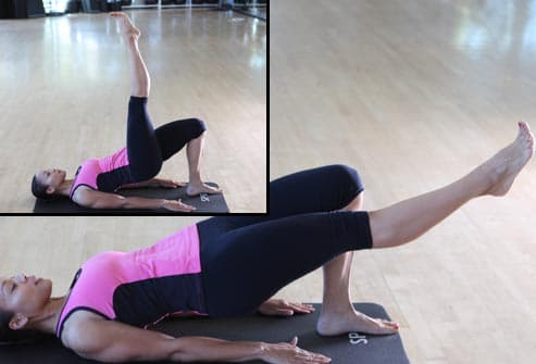 woman doing lower back bridge