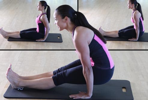woman doing tendon stretch