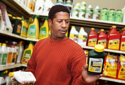 Man shopping for herbicides
