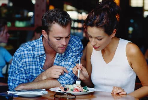 Couple Sharing a Plate of Food in a Restaurant