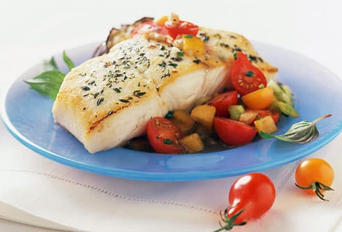 Fish Dinner With Vegetables & Simple Secrets to Portion Control and Healthy Eating in Pictures