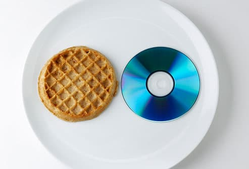 waffle and CD on plate