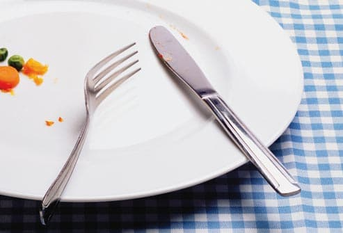 knife and fork on empty plate