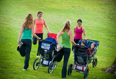 group of moms with strollers