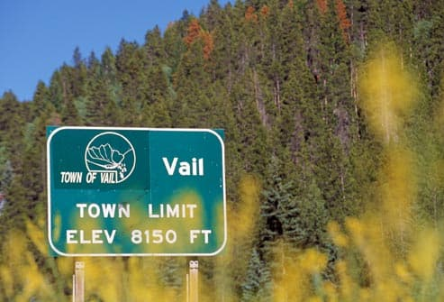 road sign for vail