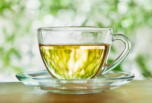 green tea in clear glass cup