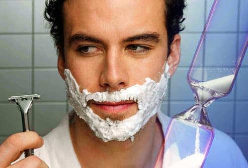 Man shaving without rushing