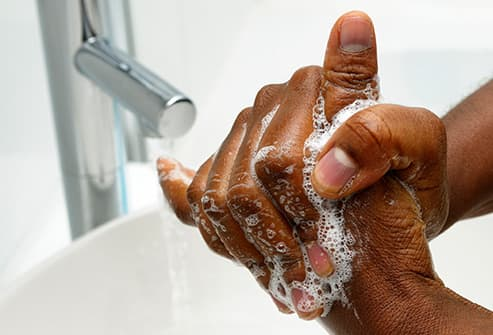 washing hands close up