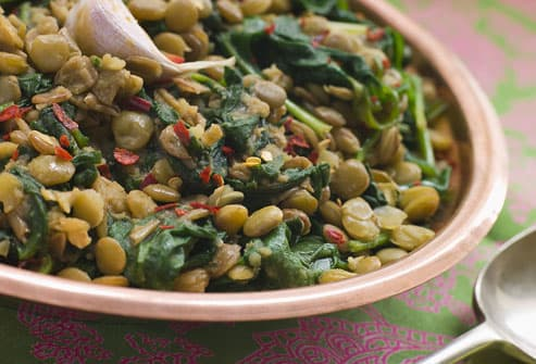 Plate Of Lentils And Spinach