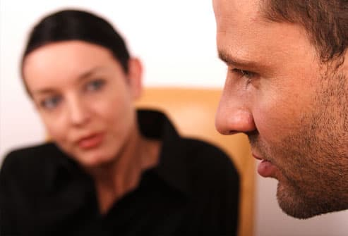 Man talking to therapist