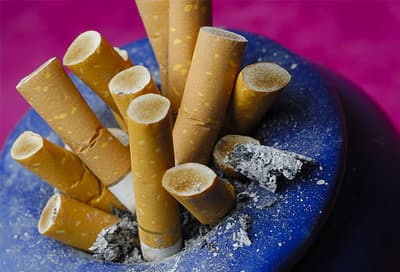 Cigarette butts in ashtray
