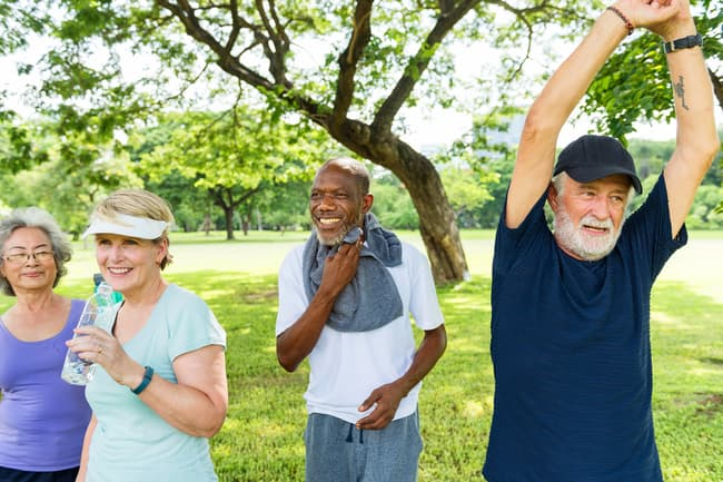 mature adults working out together