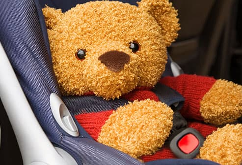 teddy bear in car seat