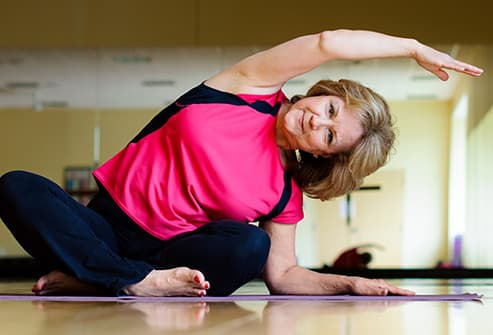 mature woman stretching