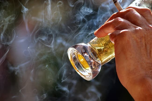 cigarette and beer close up