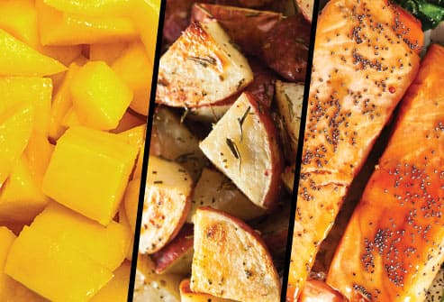 mango potato salmon triptych