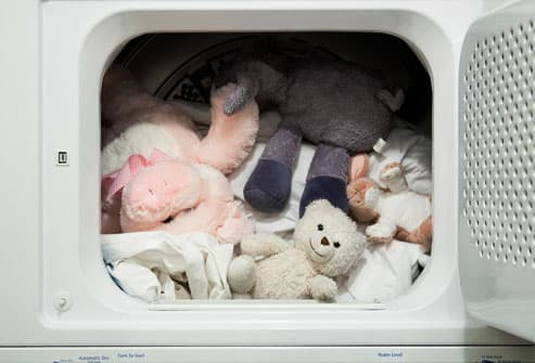 Linens and Stuffed Toys in Dryer