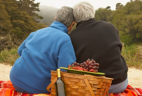 Older couple enjoying a picnic