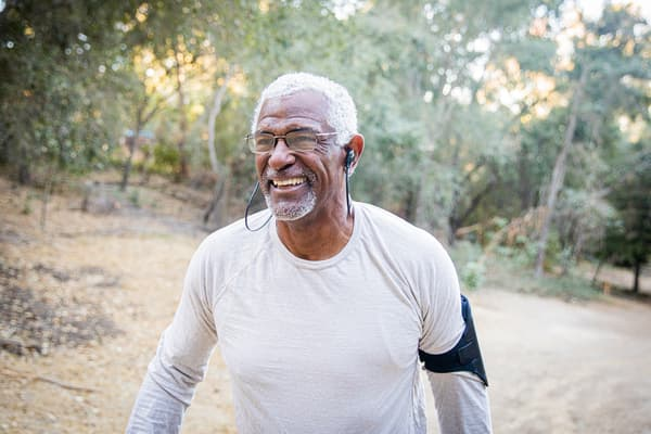 photo of mature man jogging