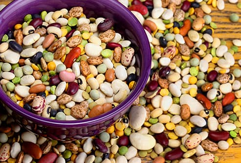 Assorted beans in a bowl