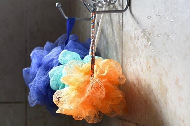 photo of loofas in shower