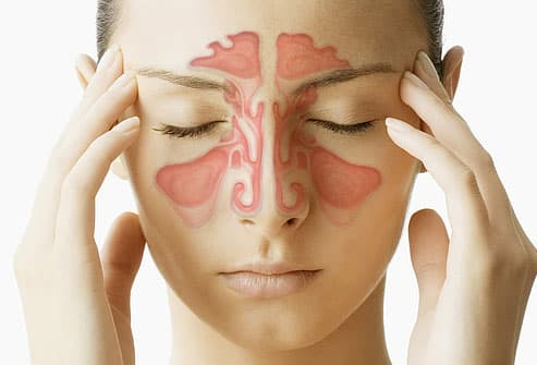 Sinus illustration superimposed on woman's face