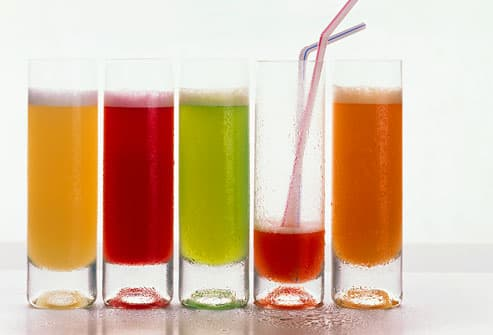 Various juices in glasses