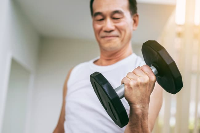 photo of mature man in gym