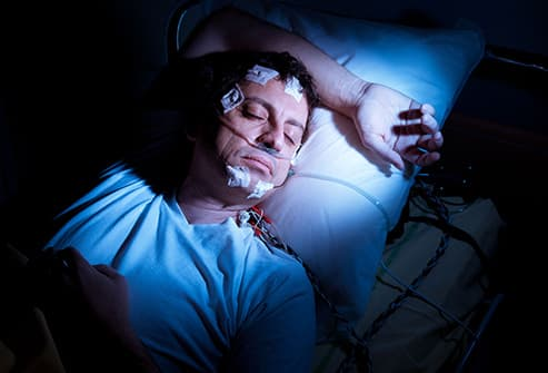 man in sleep study