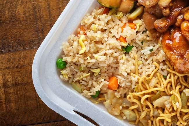 photo of brown rice in chinese takeout