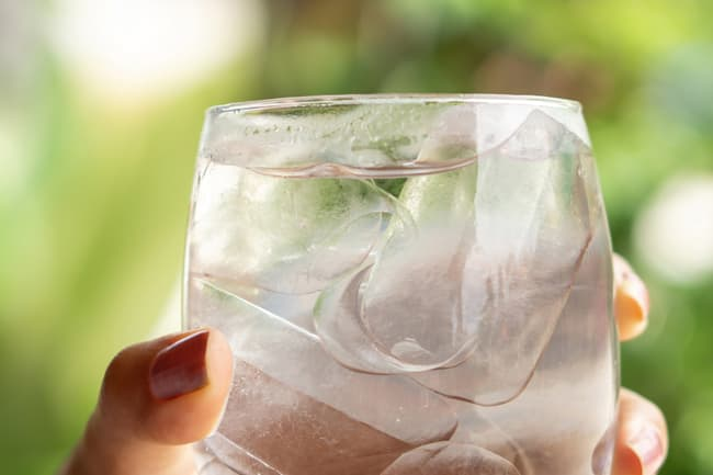 photo of glass of ice water
